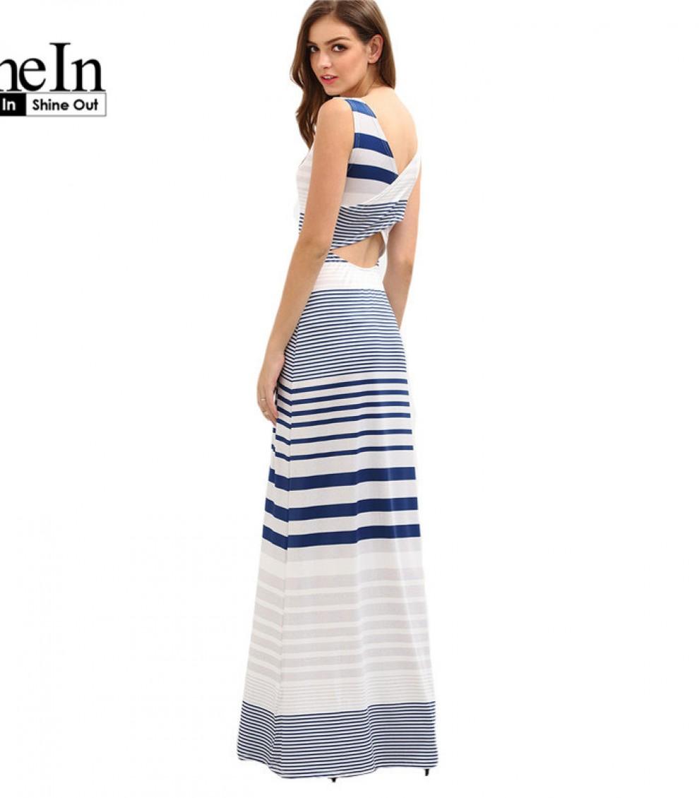 SheIn Summer Long Beach Dresses Womens Cut Out Crisscross Wrap Back  Sleeveless Multicolor Striped Maxi Tank Dress ff6d96a45e