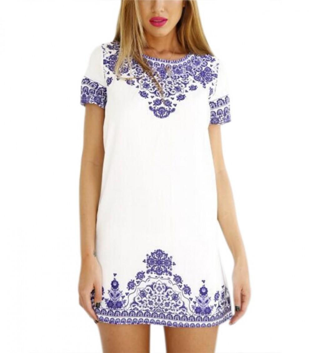 1a83e424bb3 Women Dresses Gorgeous white and purple print shift Dress blue and white  porcelain Vestidos Plus size Casual Dress
